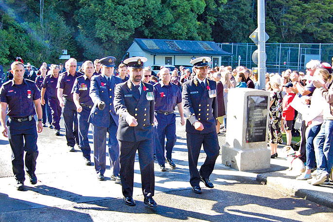 Servicemen with the NZ Navy and Air Force marched over the Memorial Park bridge at the end of the Puhoi ceremony.