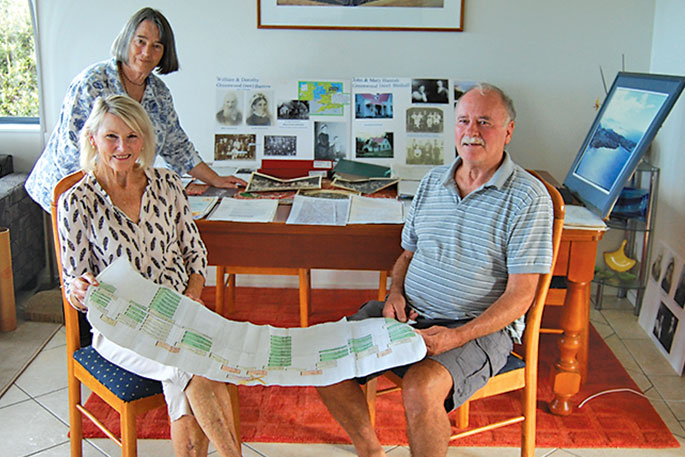 Leigh Library members with a collection of mementos. From left, Jenny Stewart, Wendy Brown and Ian Bradnam.