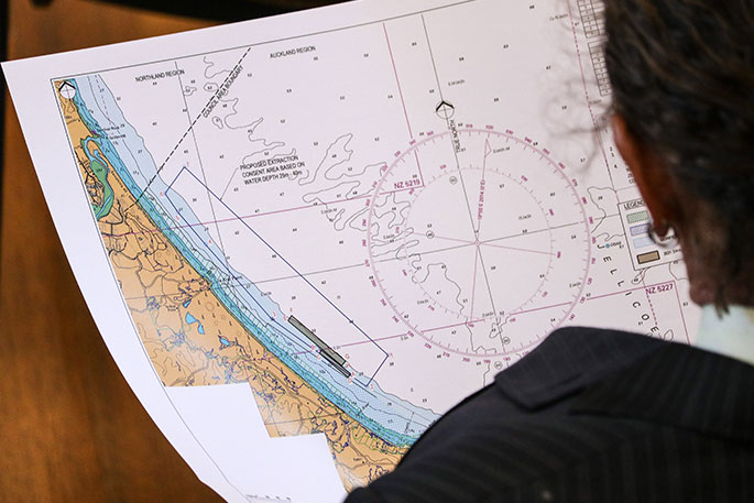 A new map produced by Kaipara Ltd sections off an area to be avoided by dredging, marked in grey.