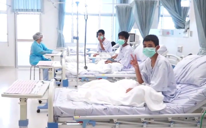 Thai boys rescued from cave send 'thank you' messages from hospital