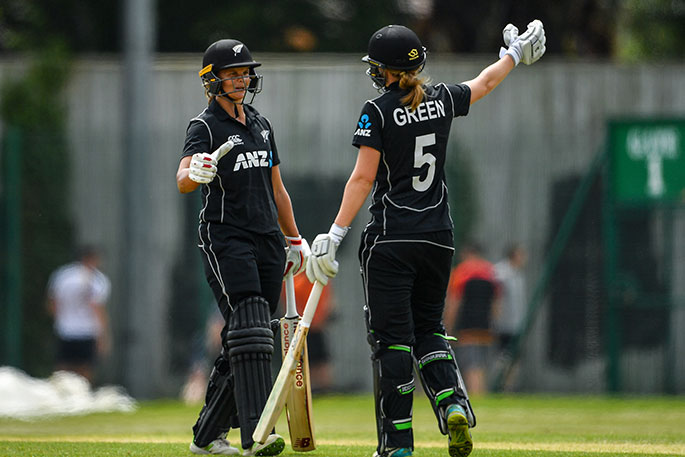 White Ferns smash world record                    Bates and Green go in for a hug. Sportsfile  sebdaly